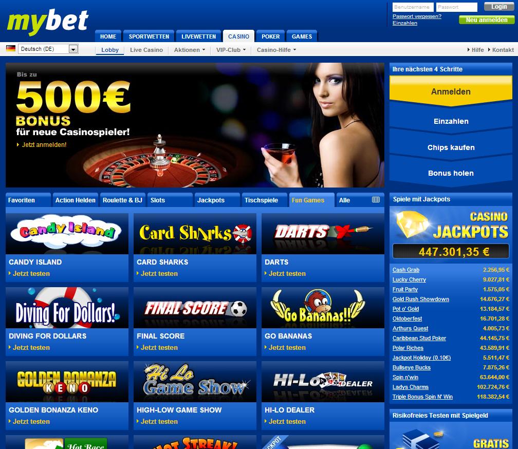 Mybet Sportsbet Lobby Page