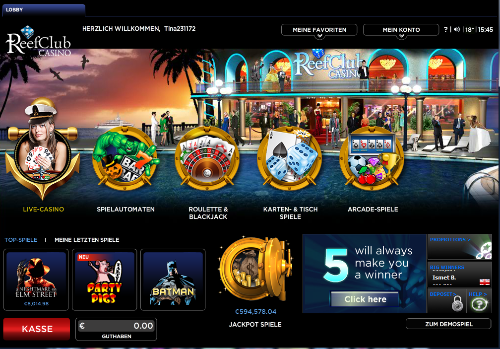 reef club casino test