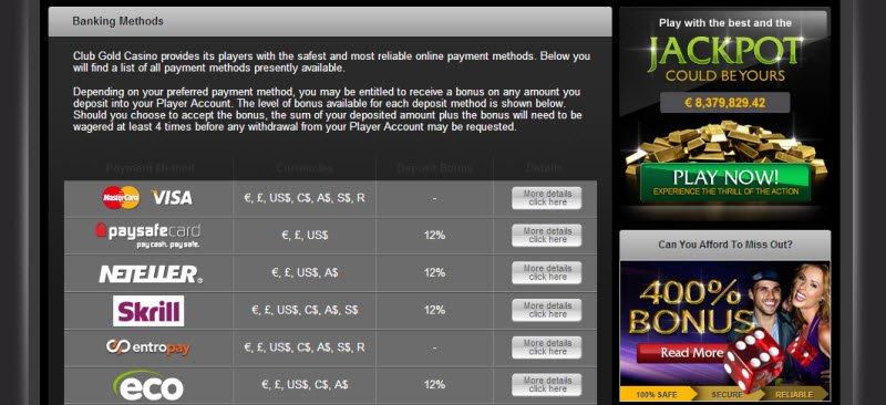Club Gold Casino Support