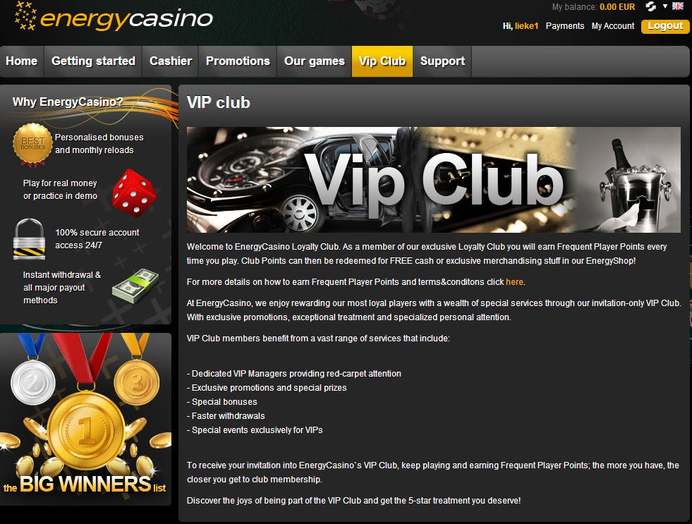 energy casino не работает