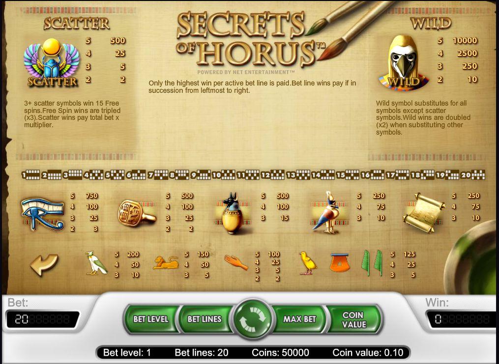 Secrets of Horus slots - spil Secrets of Horus slots gratis online.