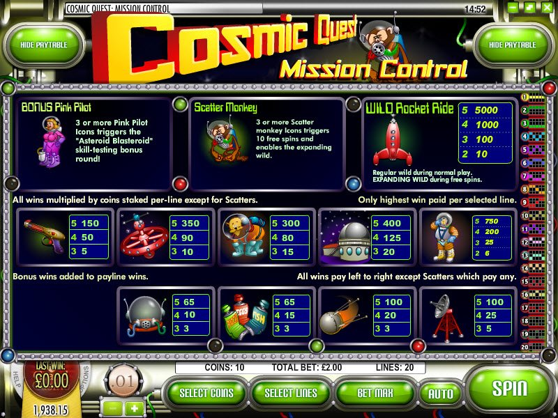 Cosmic Quest Mission Control Slot Machine - Play for Free Now