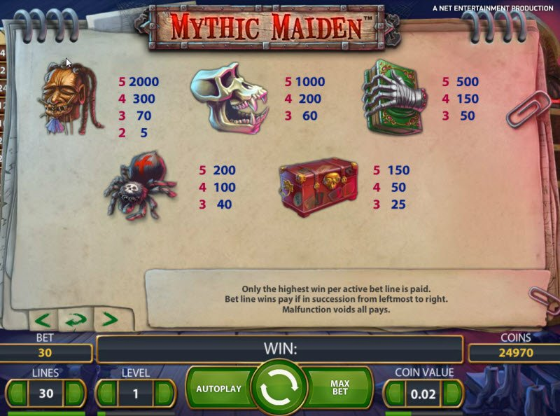 Mythic Maiden - No Signup Free Play Slot Game