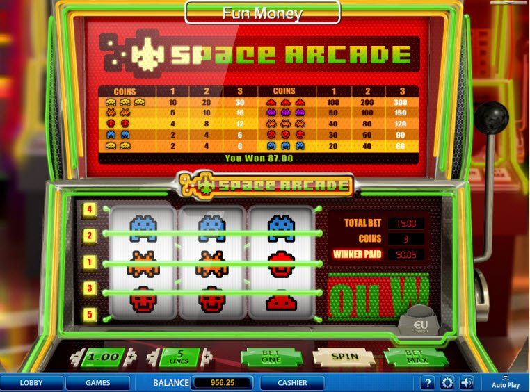 Play The Free Slot Space Arcade From SkillOnNet Casinos