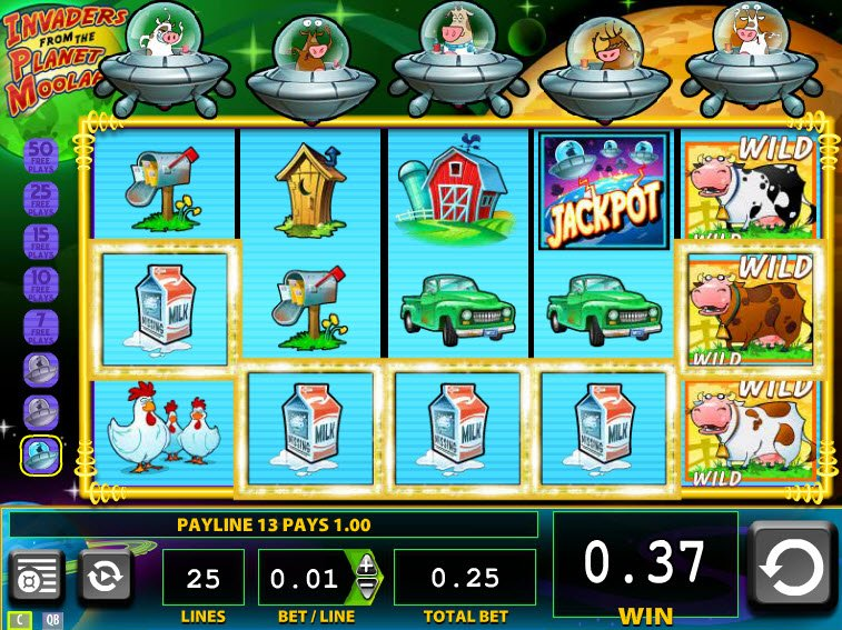 Play invaders from the planet moolah slot machine wms games