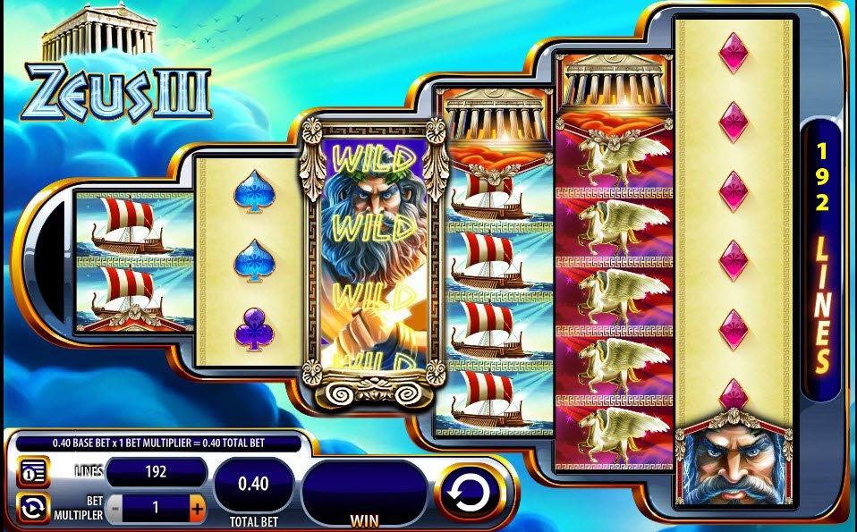 Spin 192 Zeus 3 Slot Machine Winning Paylines With 50x Bet
