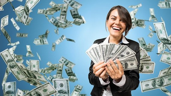 BGO Winner - Image of Woman With Lots of Money